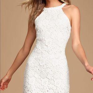 Love Poem Ivory Lace Mini Dress